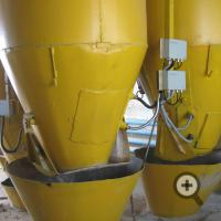 Concrete manufacture. Moisture meters are installed on three dispensers: of sand, gravel and crushed stone